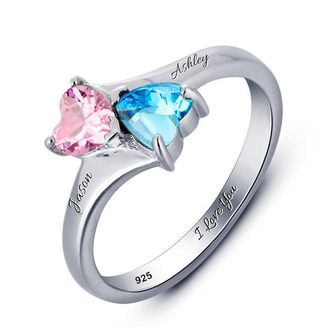 Heart Birthstone Rings gift for her for mother