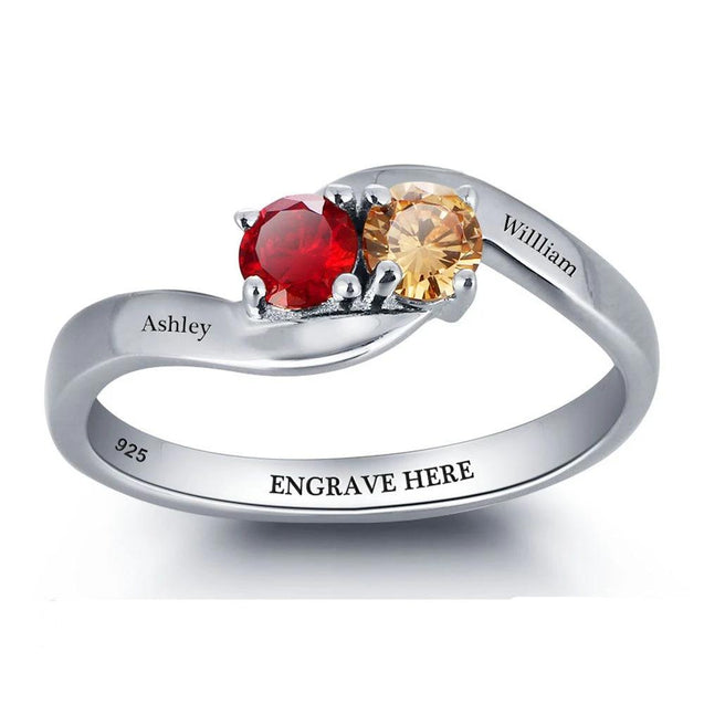 Personalized Promise Ring with 2 Birthstones Engraved 2 Names Mother's Day Gift