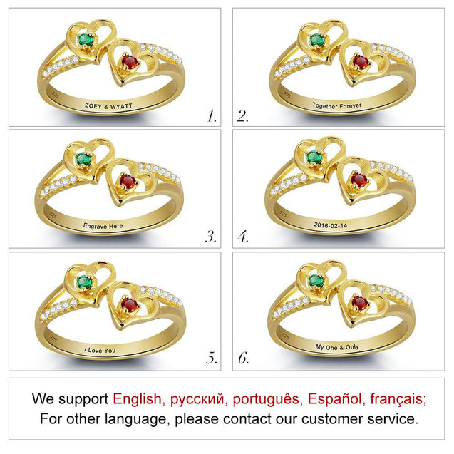 birthstone rings for mom gold plated
