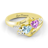 Personalized Promise Ring with 2 Birthstones Bypass Engraved Mother Ring in Gold Mother's Day Gift