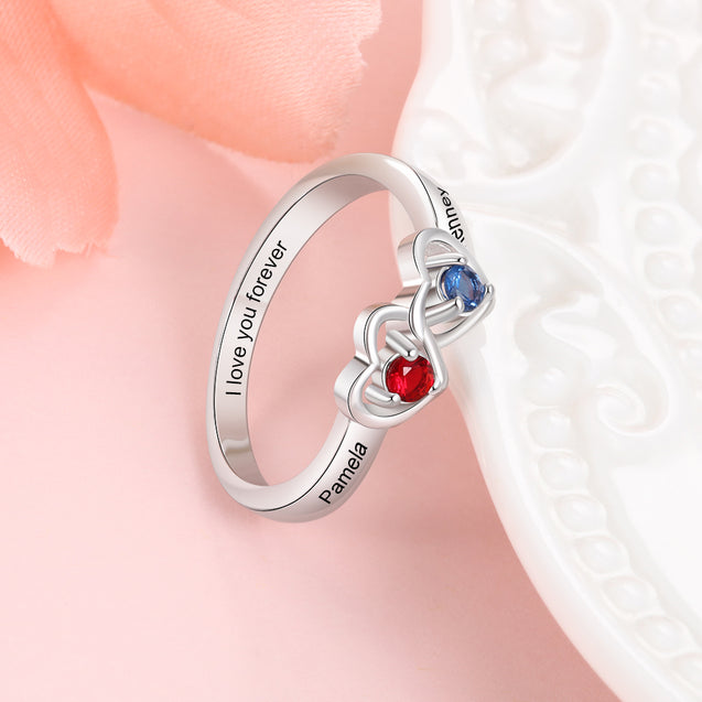 Heart Shape Promise Ring Personalized with 2 Birthstones Engraved 2 Names Custom Mother Ring