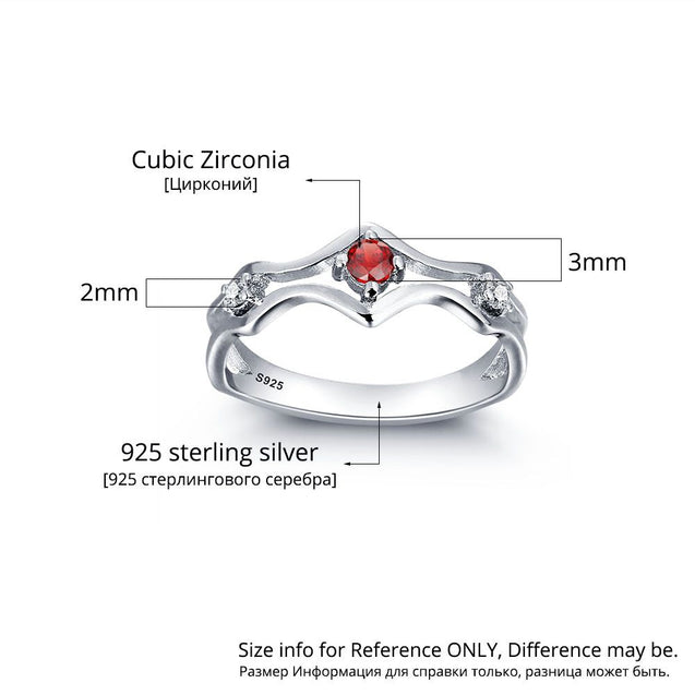 Personalized Birthstone Ring 1 Stone Engraved Promise Ring For Her July Birthstone Ring