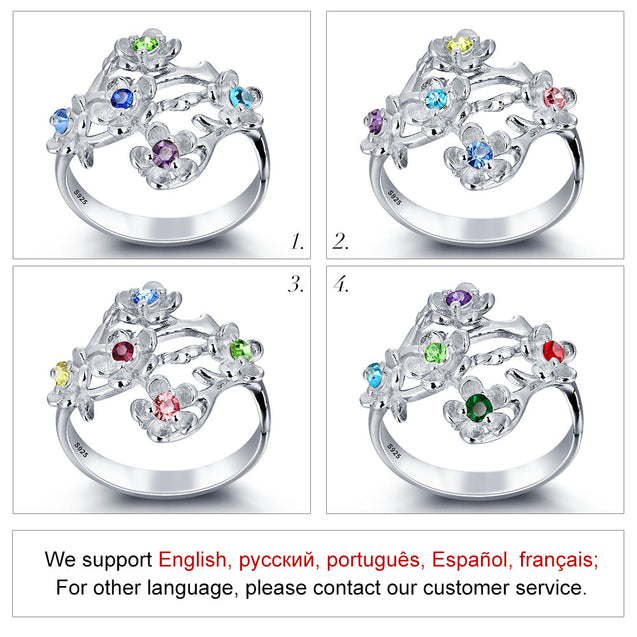 Mother Ring with 5 Stones Garden Party Birthstone Mom Ring Flower Personalized Rings