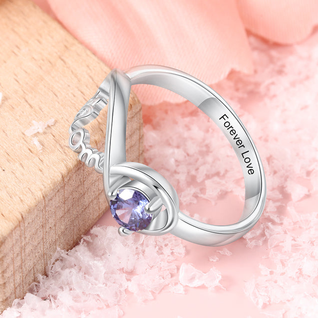 Personalized Mom Ring with Birthstone Infinity Mother Ring Unique Gift for Mother