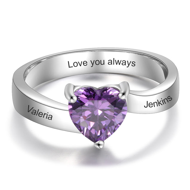 Engraved Ring With One Heart Shape Birthstone In Sterling Silver Personalized Ring For Girls and Women