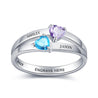 Mother Rings with 2 Birthstones Engraved 2 Names