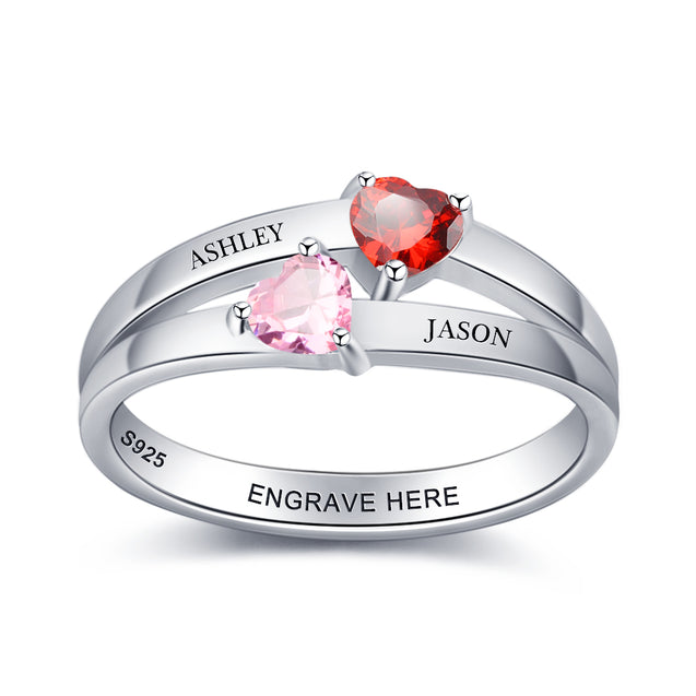 Mother Ring with 2 Heart Birthstones Engraved 2 Names Promise Ring Personalized Couple Ring