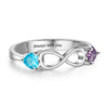 Sterling Silver Personalized Infinity Birthstone Ring with 2 Stones Engraved 2 Names