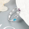 Personalized Infinity Birthstone Ring with 2 Stones Engravable Sterling Silver Valentines Day Gifts