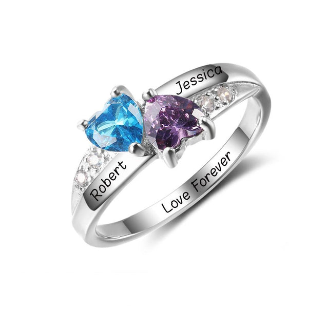Promise Ring Personalized with 2 Birthstones Engraved Ring Perfect Valentines Day Gift