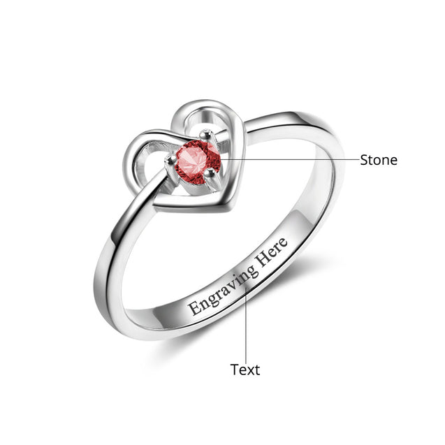 love heart birthstone ring gift for women silver