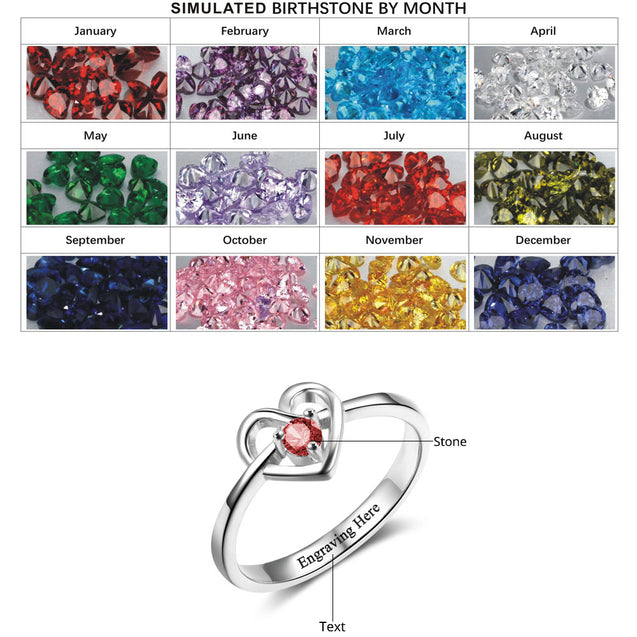 personalized engraved heart birthstone ring