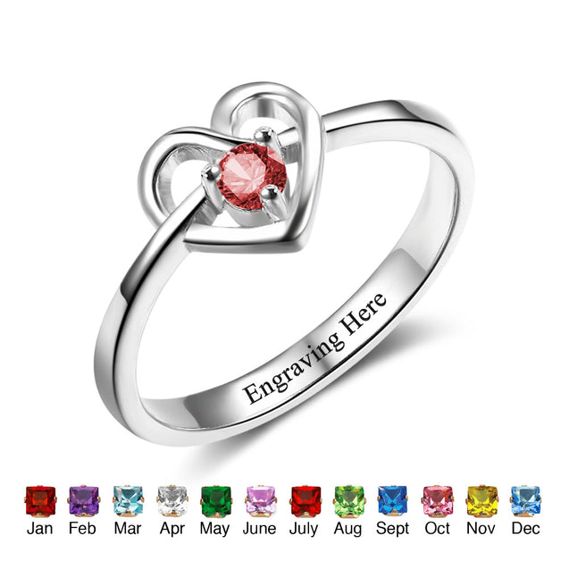 love heart birthstone ring gift for women