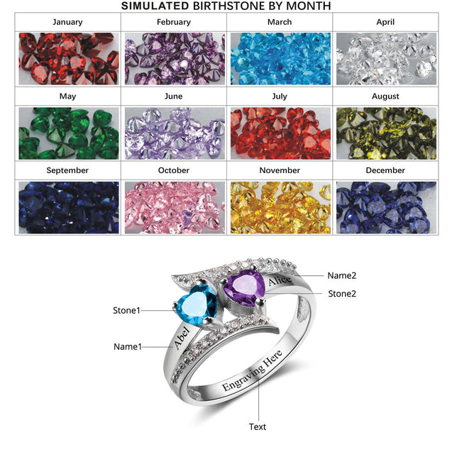 Promise Ring Egraving with 2 Birthstones Mother's  Gift