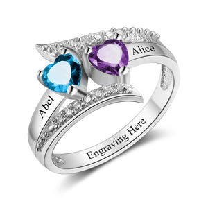 Promise Ring Egraving with 2 Birthstones Best Mother's  Gift