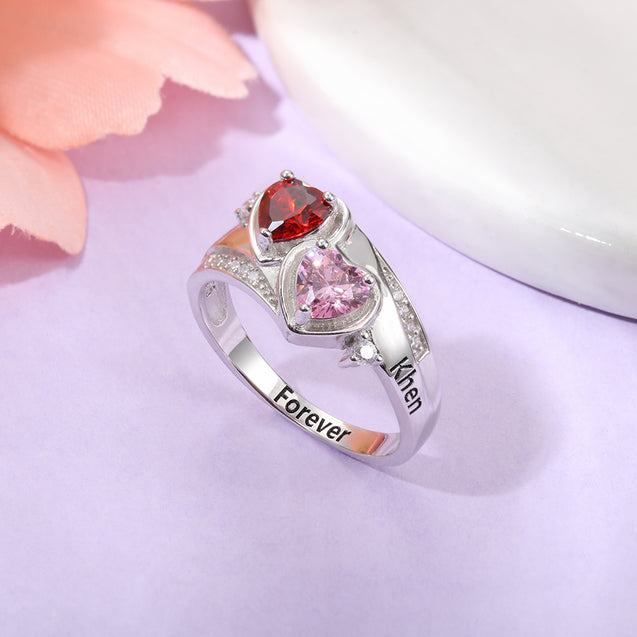 Personalized Promise Ring with 2 Birthstones Engravavle Custom Ring with Heart Birthstones Sterling Silver