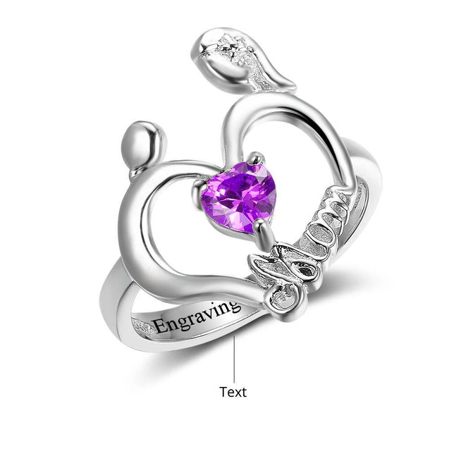 heart shape mom ring