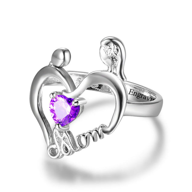 Heart Mom Ring Mother And Child Ring Personalized with 1 Brithstone Engraved 1 Meaningful Phrase
