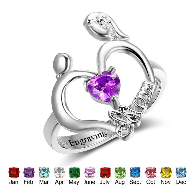 mother and child heart ring with 1birthstone