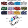 Promise Ring with 2 Birthstones Personalized Love Ring Customized with 2 Names Sterling Silver