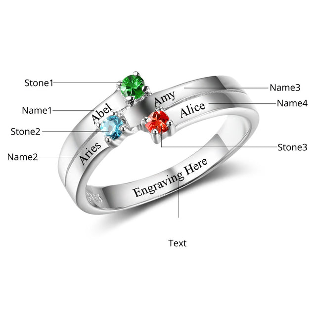 Personalized birtstone ring engraved 4 names mother ring family ring best gift