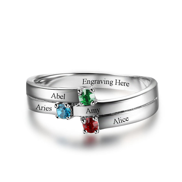 Personalized birtstone ring mother ring family ring sterling silver best gift