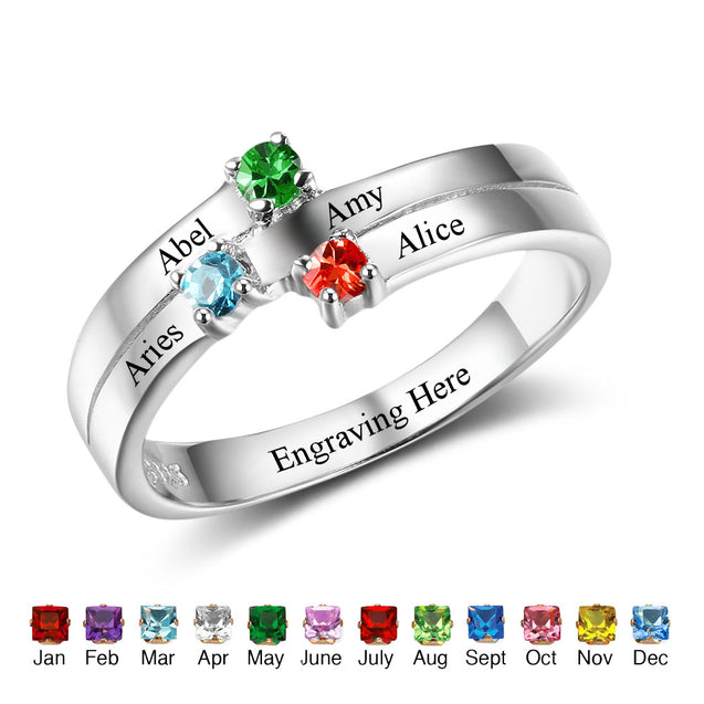 Personalized birtstone ring mother ring family ring best gift