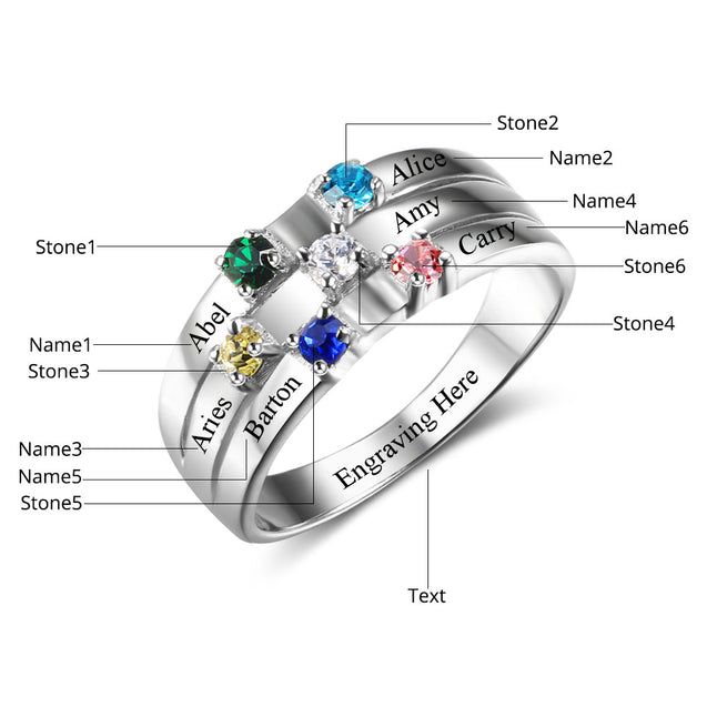 Mother Ring Band Family Ring with 6 Birthstones 6 Names Personalized Mom Ring
