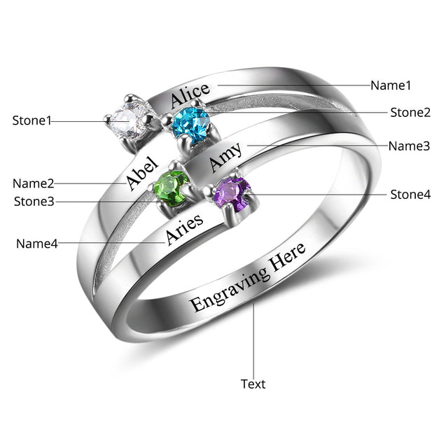 Mother Rings with Birthstone Engraved Name