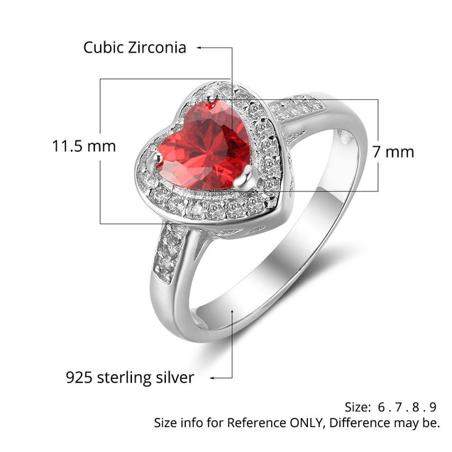 Heart Promise Ring Personalized with 1 Birthstone