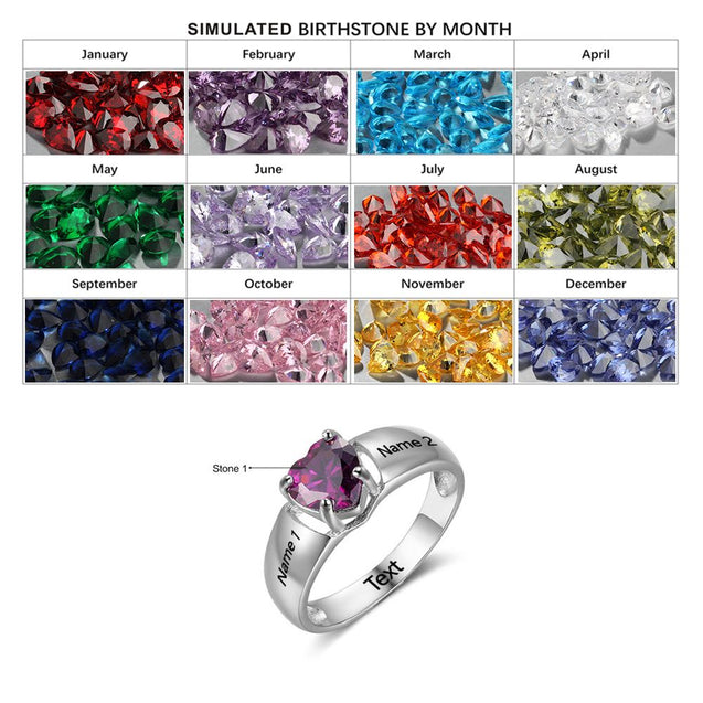 Heart Birthstone Rings Engraved Rings Sterling Silver Personalized mothers rings