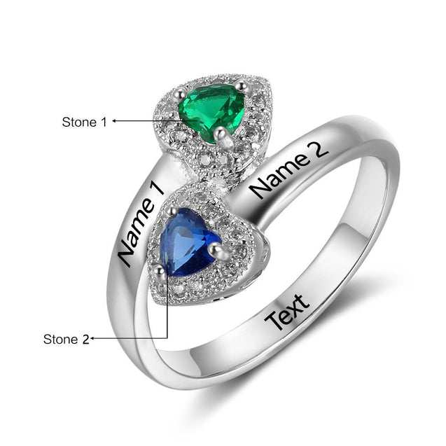Heart Birthstone Ring Custom Women Promise Ring for Her Personalized Engraving Engagement Ring Best Gift Idea