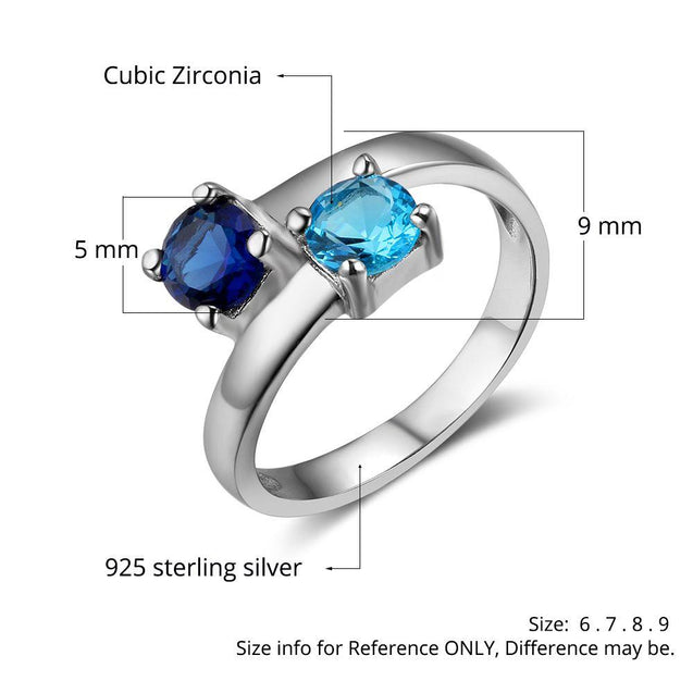Personalized Promise Ring with 2 Birthstones Engraved 2 Names
