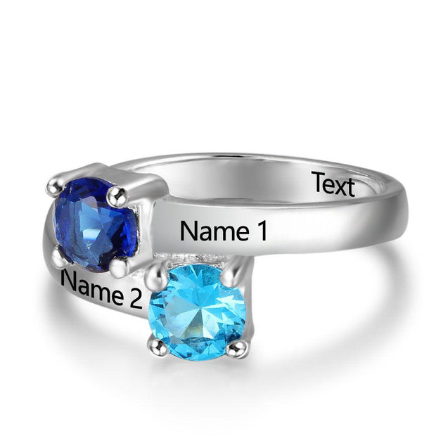 Personalized Promise Ring with 2 Birthstones Engraved 2 Names Special Gift