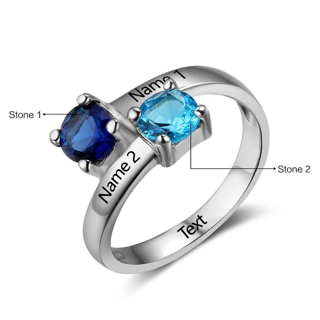 Personalized Promise Ring with 2 Birthstones Engraved 2 Names Custom Ring