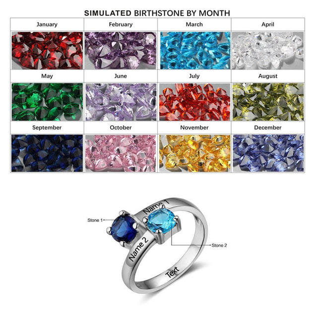 Sterling silver Birthstone Promise Ring For Her White Gold