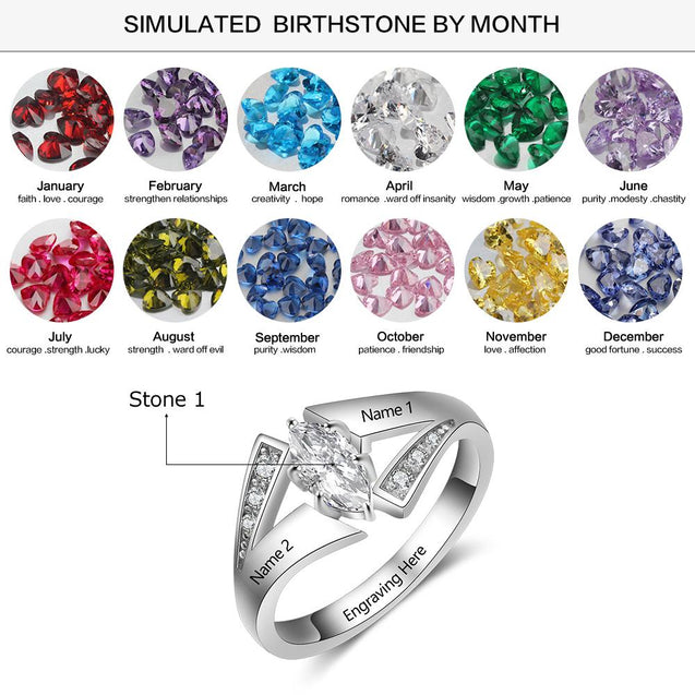 birthstone rings for mom sterling silver