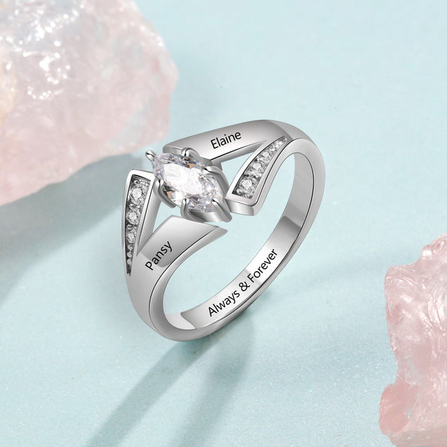 Mother Ring 1 Stone Personalized Birthstone Promise Ring Engraved 2 Names Desgin Mom Ring Sterling Silver
