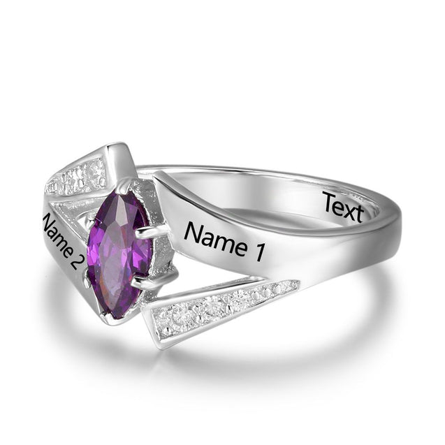 birthstone rings for mom sterling silver personalized engraved 2 names