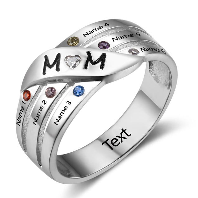 MOM Ring Family Ring Mother Ring with 6 Birthstones Engraved 6 Names Mother's Day Gift