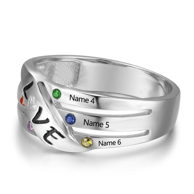 LOVE Family Ring Personalized with 6 Birthstones 6 Names Mom Ring Perfect Gift For Monther's Ring