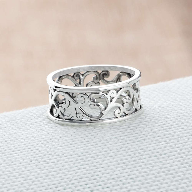 Leaf Filigree Rings Vintage Style 925 Sterling Silver Rings For Women