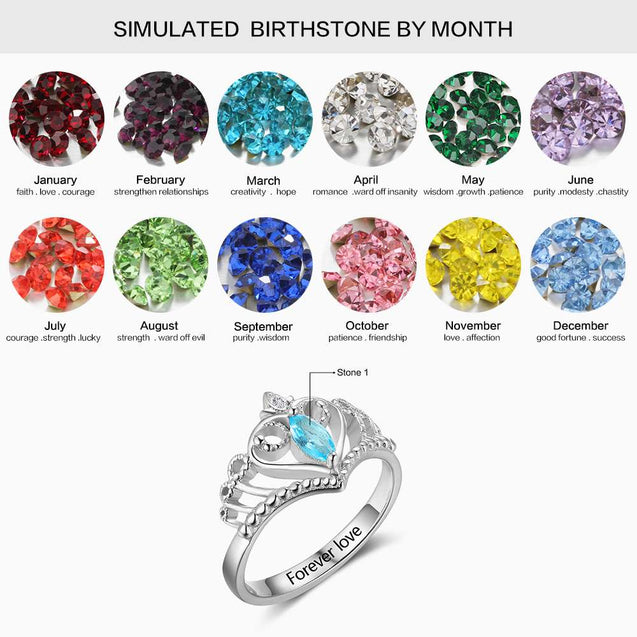 Sterling Silver Cladagh Birthstone Ring Crown Promise Ring with Stone Personalized