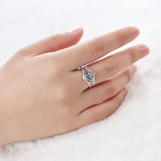 Crown Promise Ring with Stone Personalized Gift