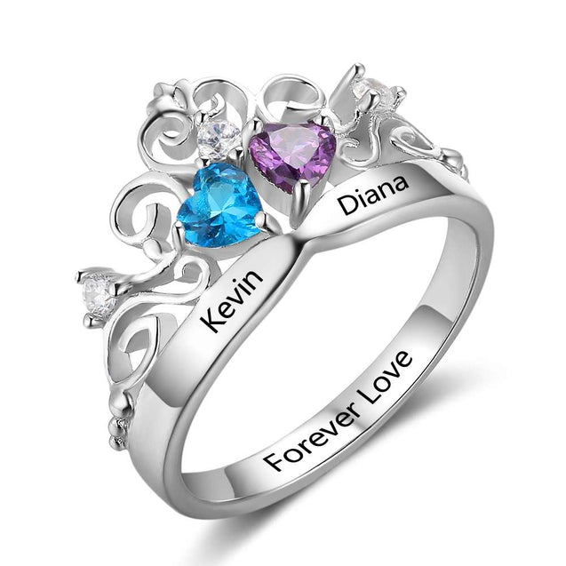 Custom Claddagh Ring Crown Promise Ring Personalized with 2 Birthstones Best Gift For Mother