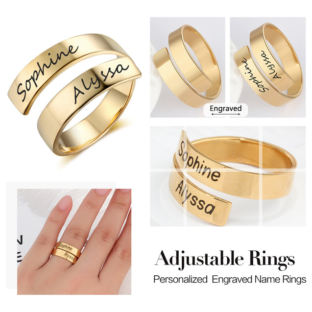 personalized engraved ring gift for friends gold plated