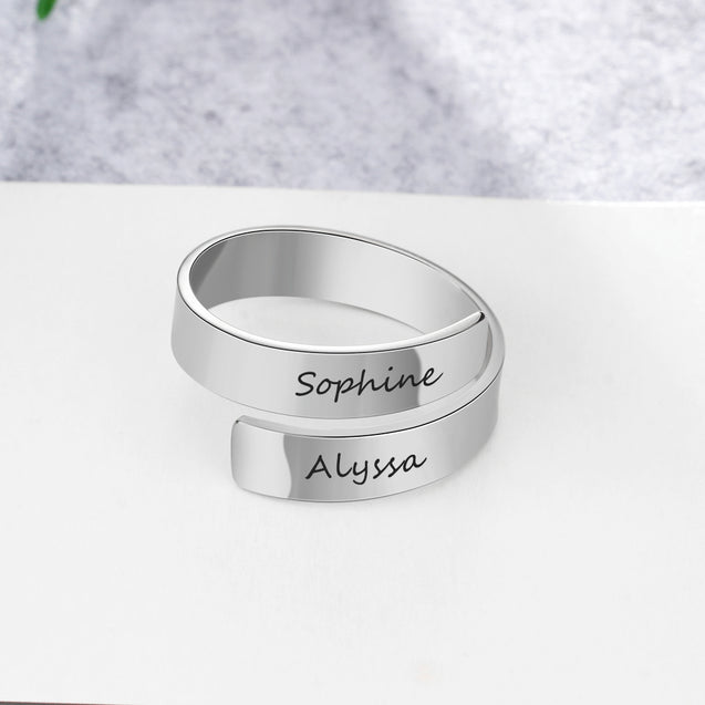 engraved 2 name women ring best gift for friends white gold plated