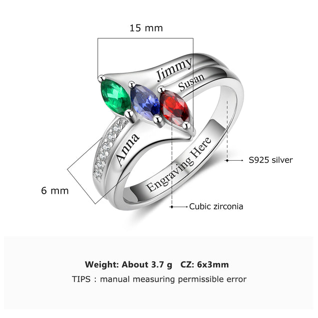 Family Ring Promise Ring Personalized with 3 Birthstones 3 Names
