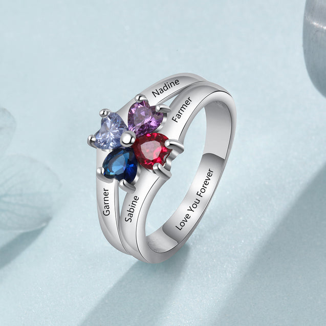 Mothers Rings Personalized with 4 Birthstones Family Ring Engraved 4 Names Best Mother's Day Gift