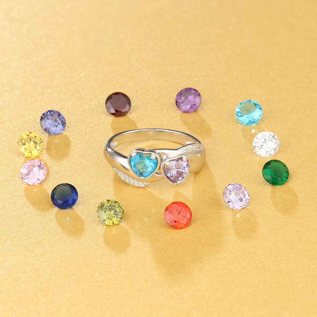 Promise Ring Personalized with 2 Birthstones Engraved 2 Names Unique Gift For Her